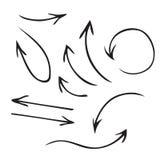 Insieme disegnato a mano delle frecce nere di vettore Immagine Stock Libera da Diritti