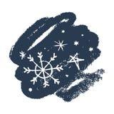 Insieme disegnato a mano delle icone di vettore dei fiocchi di neve, sbavatura della spazzola Tema di inverno illustrazione vettoriale