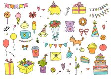 Insieme disegnato a mano di buon compleanno di vettore di scarabocchio illustrazione vettoriale