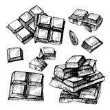 Insieme disegnato a mano di cioccolato Barra di cioccolato disegnata a mano rotta nei pezzi, Immagine Stock