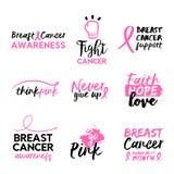 Insieme disegnato a mano di citazione del testo di consapevolezza del cancro al seno Fotografie Stock