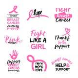 Insieme disegnato a mano di citazione di rosa di consapevolezza del cancro al seno Immagini Stock