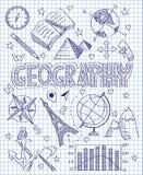 Insieme disegnato a mano di geografia illustrazione di stock
