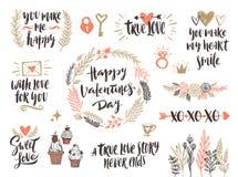 Insieme disegnato a mano di giorno di biglietti di S. Valentino Fotografie Stock Libere da Diritti