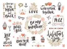 Insieme disegnato a mano di giorno di biglietti di S. Valentino Fotografia Stock Libera da Diritti