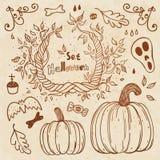 Insieme disegnato a mano di Hallowen. Modello di autunno. Fotografie Stock Libere da Diritti