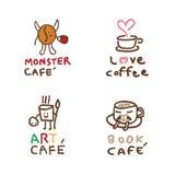 Insieme disegnato a mano di logo del caffè Immagine Stock