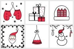 Insieme disegnato a mano di Premade delle carte del nuovo anno e di Natale con winte Fotografia Stock Libera da Diritti
