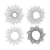 Insieme disegnato a mano di scarabocchio di vettore dell'illustrazione di starburst Fotografie Stock