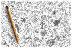 Insieme disegnato a mano di scarabocchio di vettore di carnevale Fotografia Stock