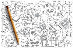 Insieme disegnato a mano di scarabocchio di vettore di chimica Fotografia Stock