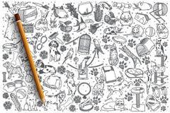 Insieme disegnato a mano di scarabocchio di vettore degli animali domestici Fotografia Stock