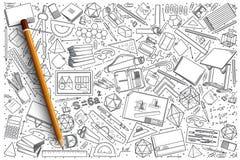 Insieme disegnato a mano di scarabocchio di vettore del disegno Fotografie Stock Libere da Diritti