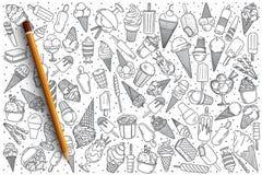 Insieme disegnato a mano di scarabocchio di vettore del gelato Fotografie Stock Libere da Diritti