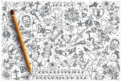 Insieme disegnato a mano di scarabocchio di vettore del tatuaggio Immagini Stock