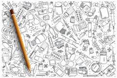 Insieme disegnato a mano di scarabocchio di vettore della farmacia Immagine Stock Libera da Diritti