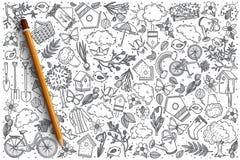 Insieme disegnato a mano di scarabocchio di vettore della primavera Immagine Stock