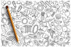 Insieme disegnato a mano di scarabocchio di vettore della spiaggia Fotografia Stock