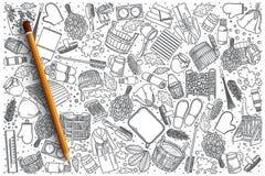 Insieme disegnato a mano di scarabocchio di vettore dello stabilmento balneare Fotografie Stock