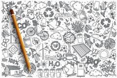 Insieme disegnato a mano di scarabocchio di vettore di ecologia Fotografia Stock Libera da Diritti