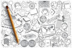 Insieme disegnato a mano di scarabocchio di vettore di geografia Fotografie Stock