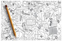 Insieme disegnato a mano di scarabocchio di vettore di matematica Fotografia Stock Libera da Diritti