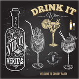 Insieme disegnato a mano di schizzo dei cocktail alcolici Illustrazione di vettore Fotografie Stock