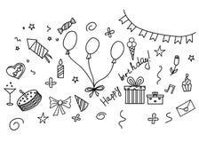 Insieme disegnato a mano di schizzo di buon compleanno con gli attributi del partito Fotografie Stock Libere da Diritti