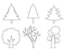 Insieme disegnato a mano di vari alberi del profilo illustrazione vettoriale
