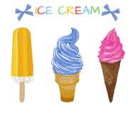 Insieme disegnato a mano di VECTOE di gelato Immagine Stock