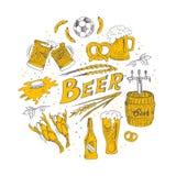 Insieme disegnato a mano di vettore con birra Fotografia Stock Libera da Diritti
