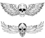 Insieme disegnato a mano di vettore del cranio Tatuaggio del cranio dell'autoadesivo tatuaggio di stile di schizzo Immagine Stock Libera da Diritti