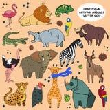 Insieme disegnato a mano di vettore dell'illustrazione degli animali africani Fotografia Stock