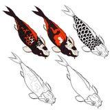 Insieme disegnato a mano di vettore dell'isolato del pesce di Koi e tatuaggio giapponese Fotografia Stock