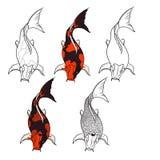 Insieme disegnato a mano di vettore dell'isolato del pesce di Koi e tatuaggio giapponese Fotografie Stock