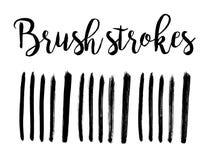 Insieme disegnato a mano di vettore della spazzola del pennello dell'inchiostro nero, illustrazione I colpi hanno isolato gli ele Immagini Stock