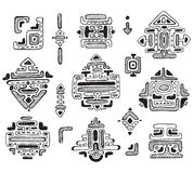 Insieme disegnato a mano di vettore di maya dell'ornamento Fotografie Stock Libere da Diritti