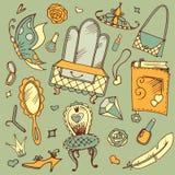Insieme disegnato a mano di vettore di scarabocchio degli accessori della ragazza s royalty illustrazione gratis