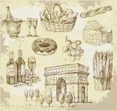 insieme disegnato a mano Francia-originale Fotografia Stock