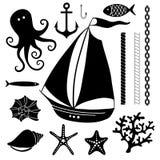 Insieme disegnato a mano marino della siluetta dei simboli del mare Fotografia Stock