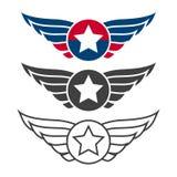 Insieme, distintivi o logos dell'emblema di aviazione Immagini Stock