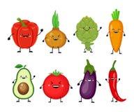 Insieme divertente del fumetto delle verdure differenti Peperone dolce sorridente, illustrazione vettoriale