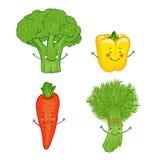 Insieme divertente dell'icona delle verdure. Illustrazione di Stock