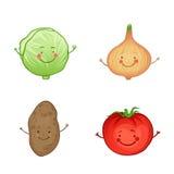Insieme divertente dell'icona delle verdure. Illustrazione Vettoriale