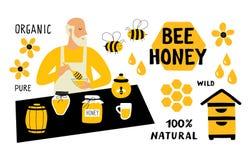 Insieme divertente di scarabocchio del miele dell'ape Apicoltore, apicoltura, venditore del mercato dell'alimento Illustrazione d illustrazione di stock