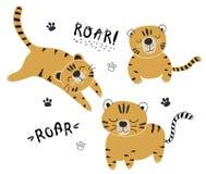 Insieme divertente di vettore delle tigri, illustrazione puerile per tessuto, scuola materna dei bambini, vestiti immagine stock