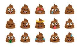 Insieme divertente sveglio della poppa Icone emozionali della merda Emoji felice, emoticon illustrazione vettoriale