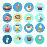 Insieme dolce dell'icona dell'alimento del dessert della raccolta variopinta del dolce illustrazione di stock