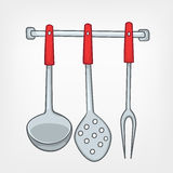Insieme domestico del cucchiaio della cucina del fumetto Fotografia Stock