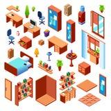 Insieme domestico isometrico della mobilia di vettore illustrazione di stock